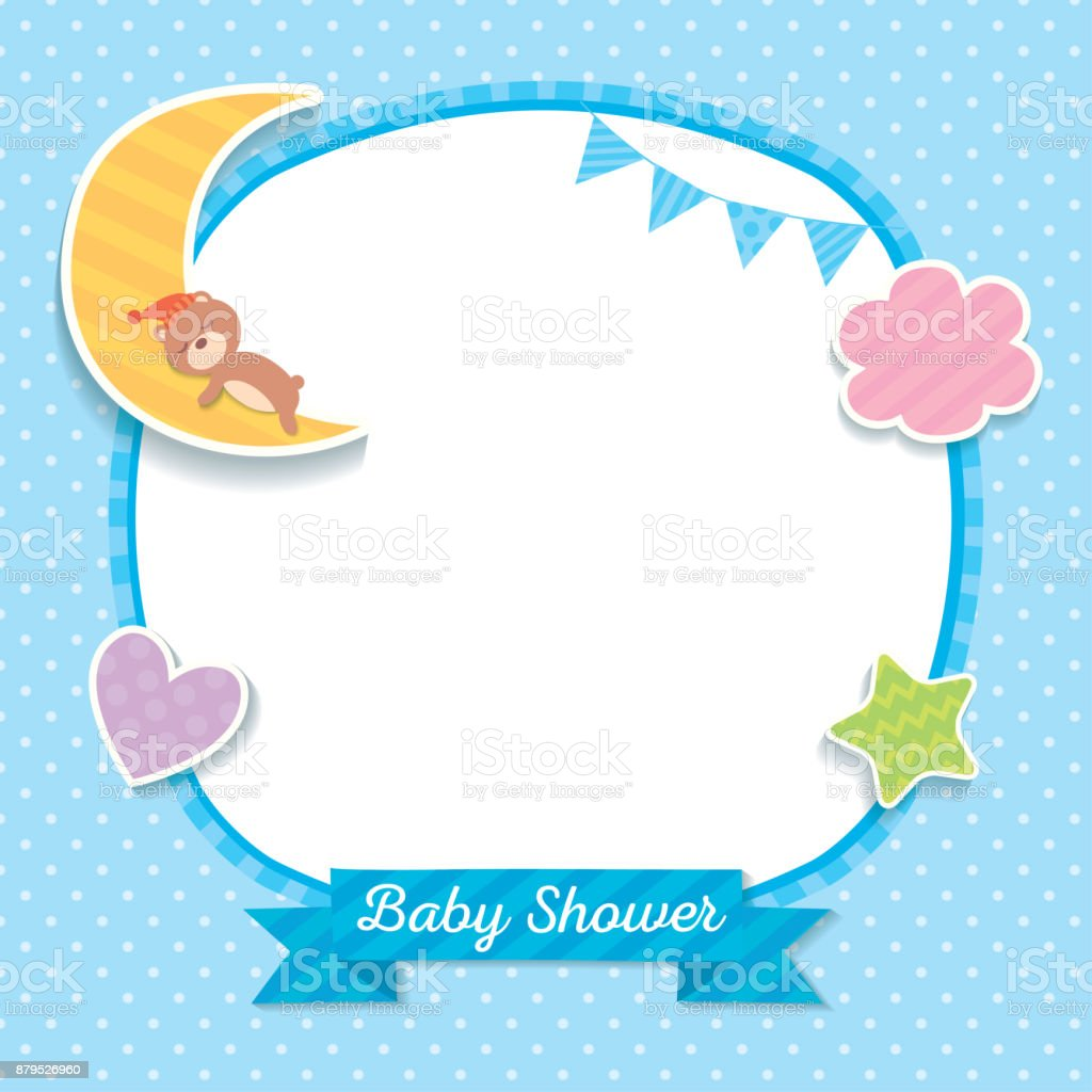 Baby shower blue template vector art illustration