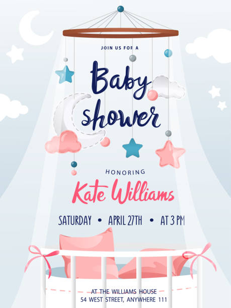 Baby shower boy and girl, invitation card with decorations and place for text. Greeting cards. Flat style. Vector illustration Baby shower boy and girl, invitation card with decorations and place for text. Greeting cards. Flat style. Vector illustration. baby shower stock illustrations