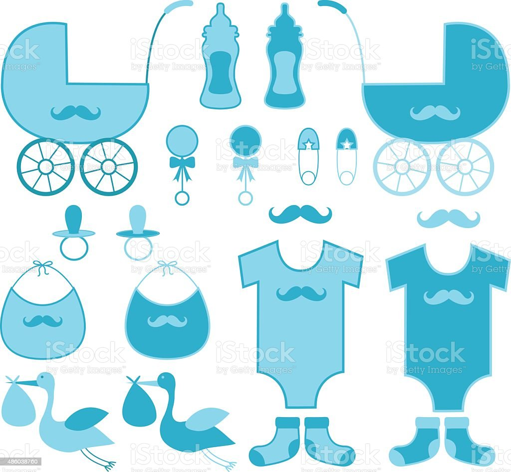 Baby Shower Boy Elements.Baby Announcement. Royalty Free Stock Vector Art