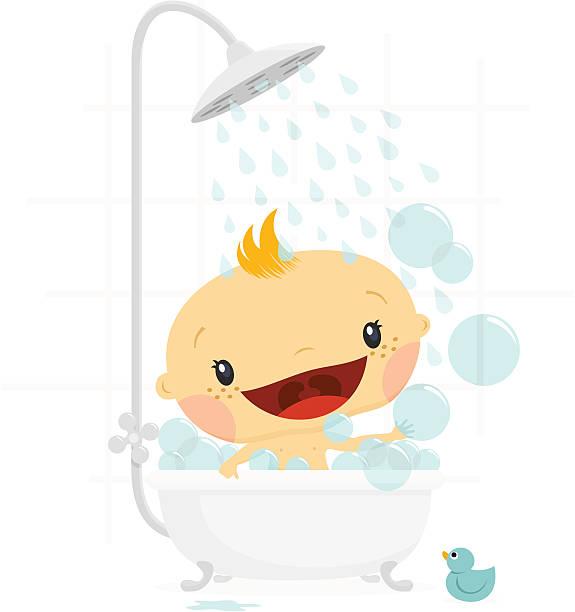 stockillustraties, clipart, cartoons en iconen met baby shower boy. newborn greeting card - alleen één jongensbaby
