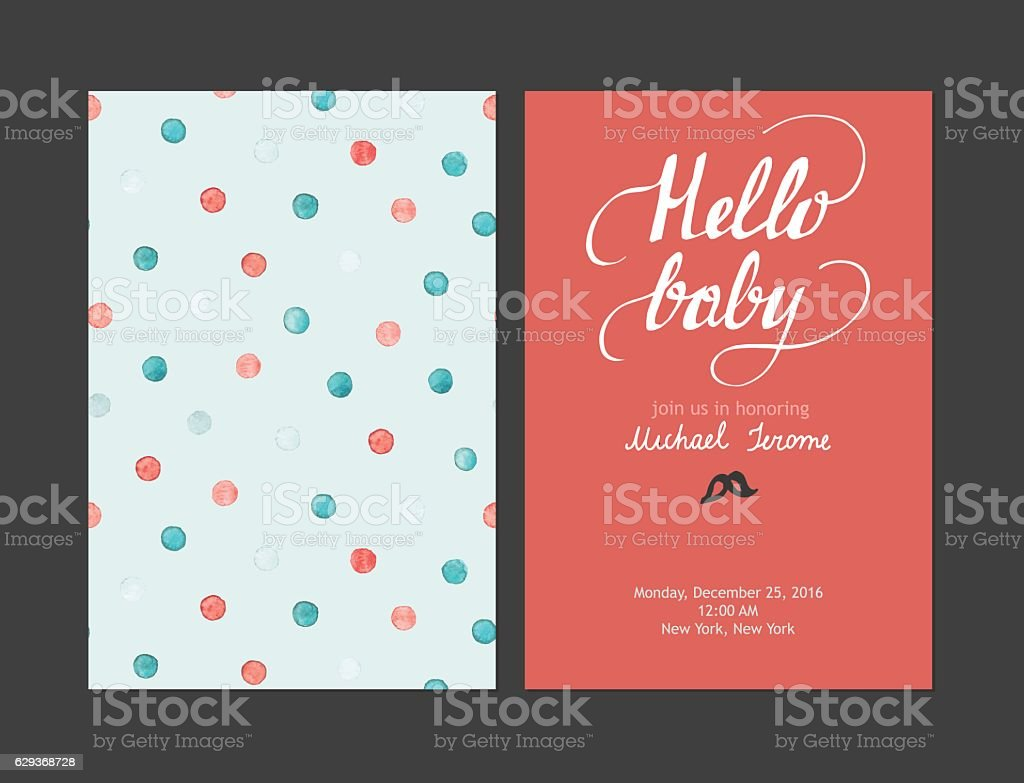 Baby shower boy or girl invitation, vector templates. Pastel cards vector art illustration