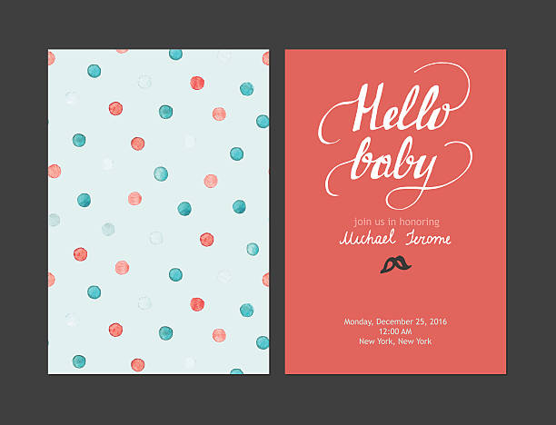 Baby shower boy or girl invitation, vector templates. Pastel cards - ilustración de arte vectorial