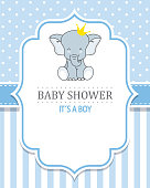 baby shower boy. Cute Elephant with crown. space for text