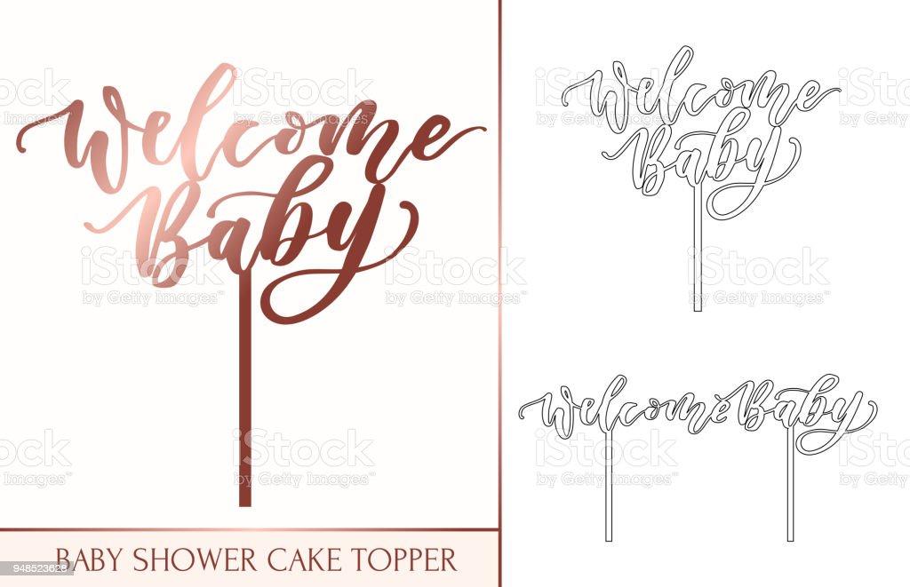 Bebê chuveiro bolo chapéu de coco para laser ou corte de trituração. Bem-vindo bebê letras inscrição para laser cortado. - ilustração de arte em vetor