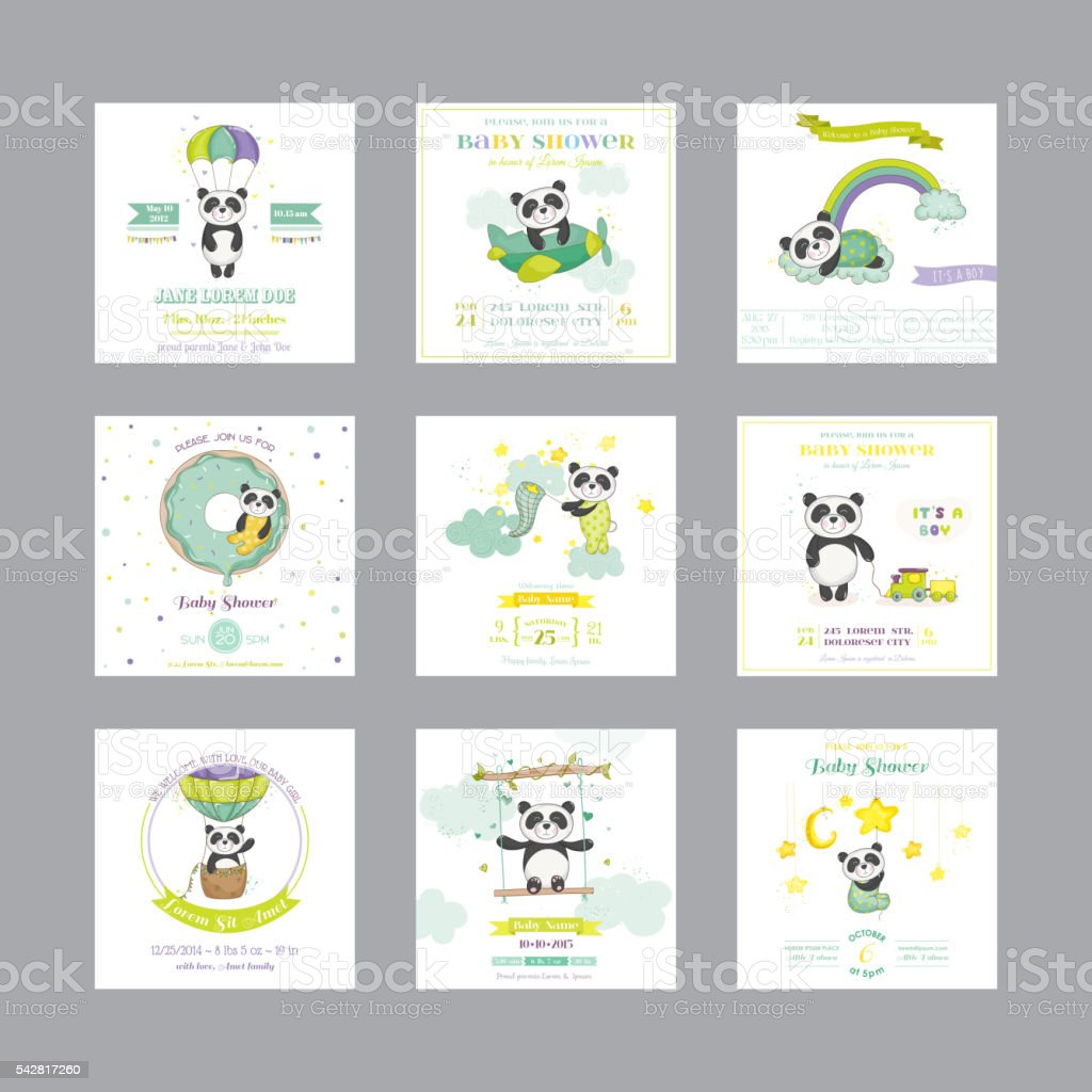Baby Shower Card. Arrival Baby Card. Baby Panda Animal vector art illustration