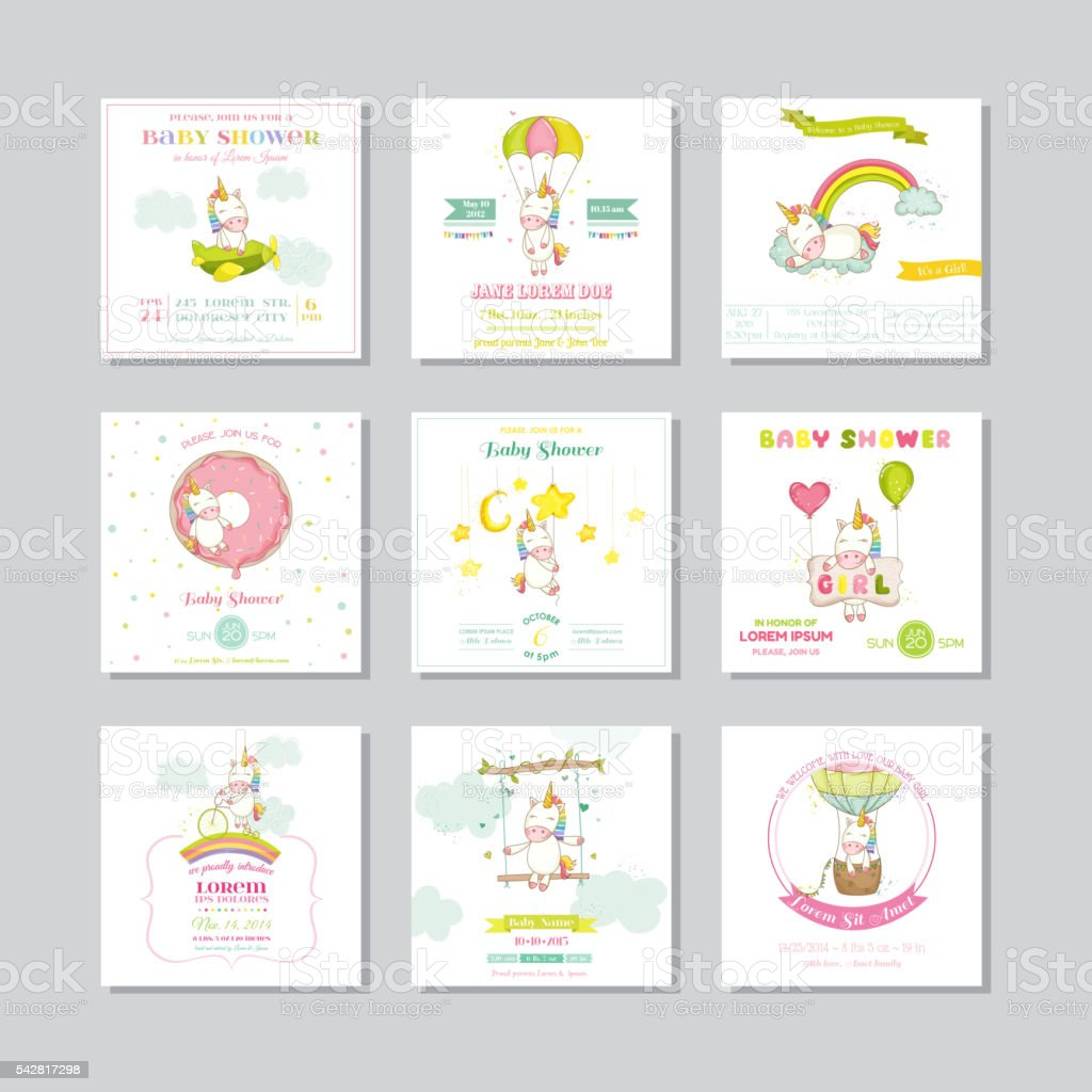 Baby Shower Card. Arrival Baby Card. Baby Unicorn Girl vector art illustration