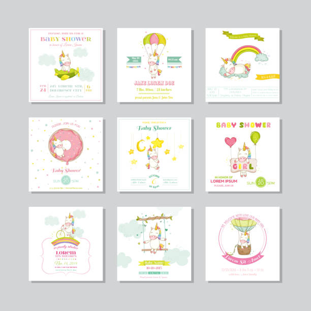 ilustraciones, imágenes clip art, dibujos animados e iconos de stock de baby shower tarjeta. tarjetas de llegada de bebé. bebé niña unicornio - baby shower