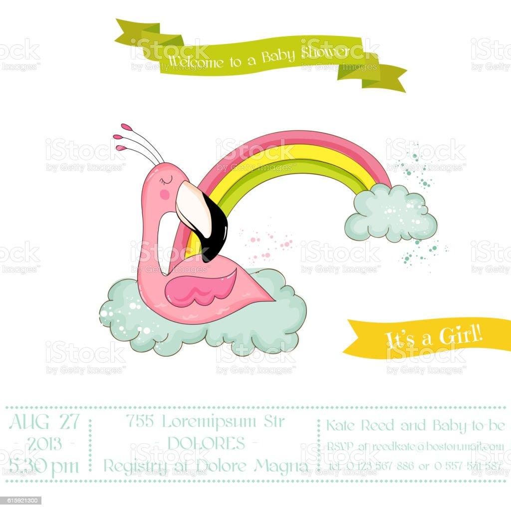 baby shower card baby flamingo girl sleeping on rainbow stock vector