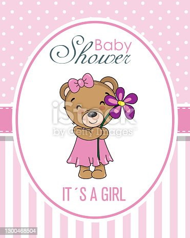 istock Baby shower card. Bear with a flower 1300468504