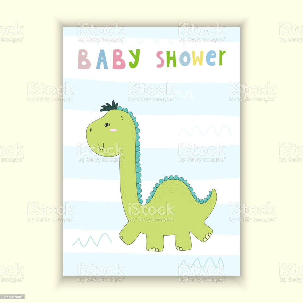 image about Printable Baby Shower Card named Boy or girl Shower Card Layout Lovely Hand Drawn Card With Dinosaur