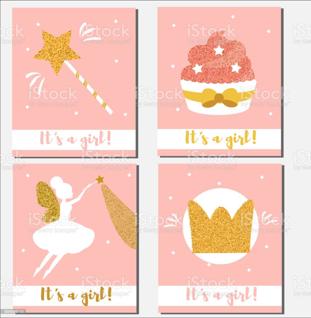 baby shower card design template its a girl cards with glittering elements cupcakes magic