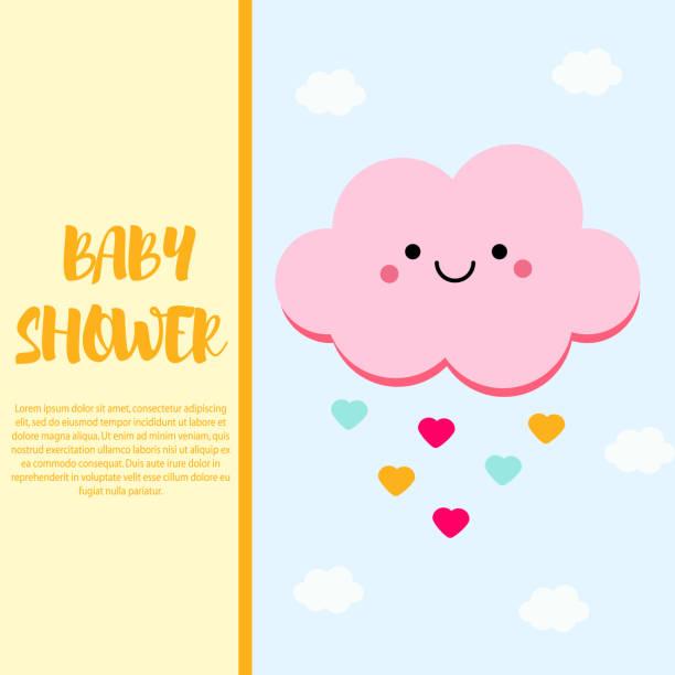 illustrations, cliparts, dessins animés et icônes de modèle de conception carte bébé douche avec caractère mignon nuage rose - nuage 6
