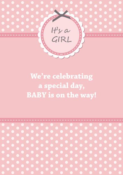 baby shower card design. baby shower card design. vector illustration it's a girl stock illustrations