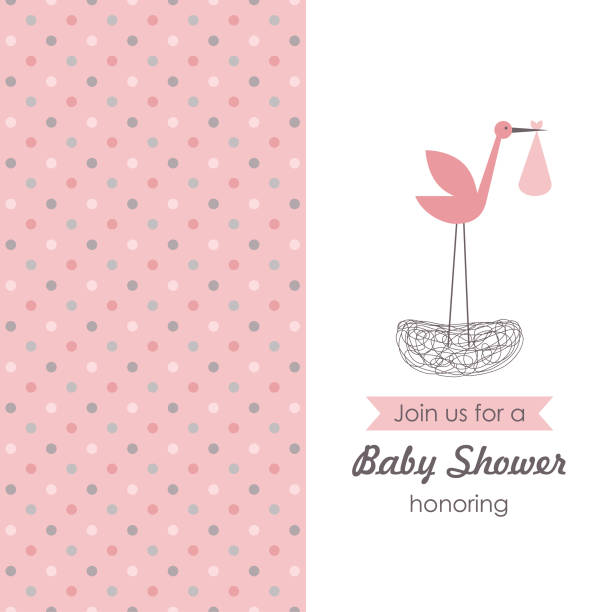 baby shower card design. baby announcement card. vector illustration it's a girl stock illustrations
