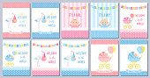 Baby Shower boy card. Vector Baby girl design. Cute pink blue banner. Birth party background. Welcome template invite. Happy greeting poster with kid, stork, pram, polka dot print Cartoon illustration