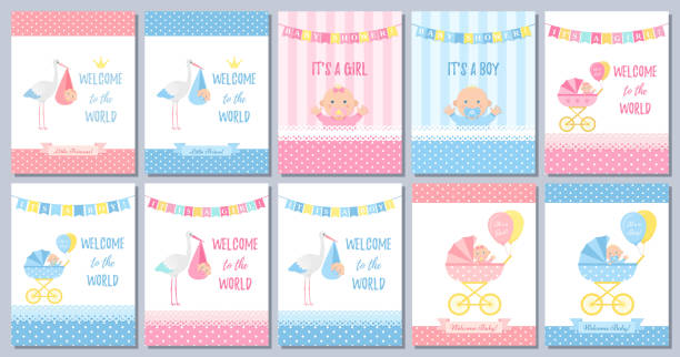 Baby Shower card design. Vector illustration. Birthday party background. Baby Shower boy card. Vector Baby girl design. Cute pink blue banner. Birth party background. Welcome template invite. Happy greeting poster with kid, stork, pram, polka dot print Cartoon illustration baby shower stock illustrations