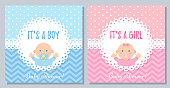 Baby Shower invitation. Vector. Baby boy, girl card. Cute blue pink design banner. Birth party background. Happy greeting pastel poster. Welcome template invite with newborn kid. Flat illustration