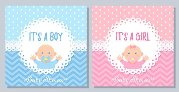 Baby Shower card design. Vector illustration. Birthday party background. Baby Shower invitation. Vector. Baby boy, girl card. Cute blue pink design banner. Birth party background. Happy greeting pastel poster. Welcome template invite with newborn kid. Flat illustration baby shower stock illustrations