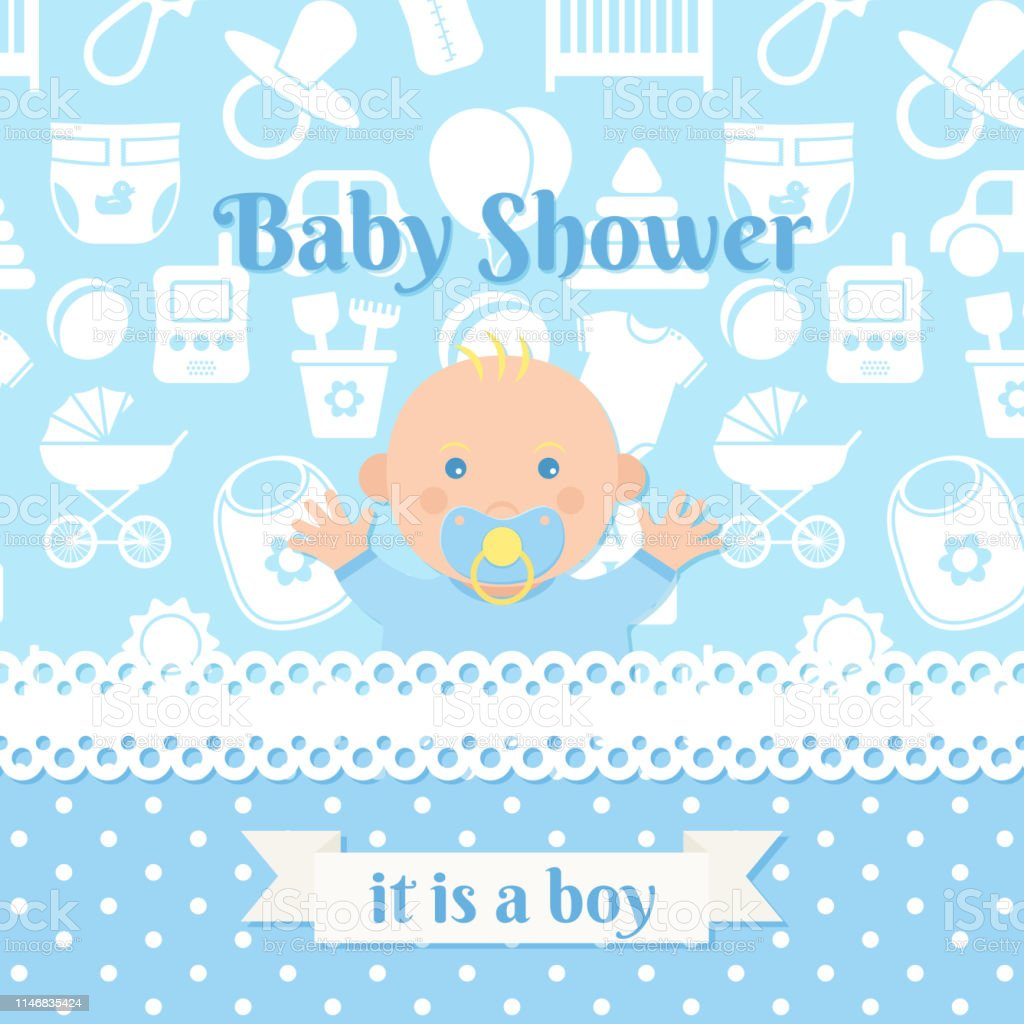 Ilustración De Diseño De Tarjeta Baby Shower Ilustración