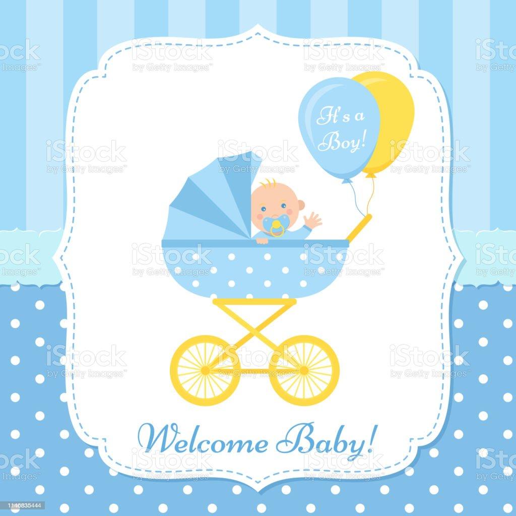 Ilustración De Diseño De Tarjeta Baby Shower Ilustración Vectorial Invitación De La Plantilla De Cumpleaños Y Más Vectores Libres De Derechos De Azul