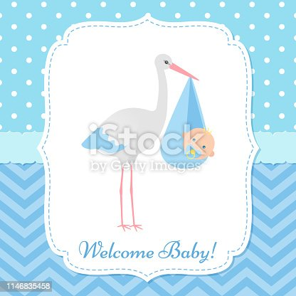Baby Shower invitation card. Vector. Baby boy banner. Welcome template invite. Blue design. Cute birth party background. Happy greeting poster with newborn kid and stork. Cartoon flat illustration.