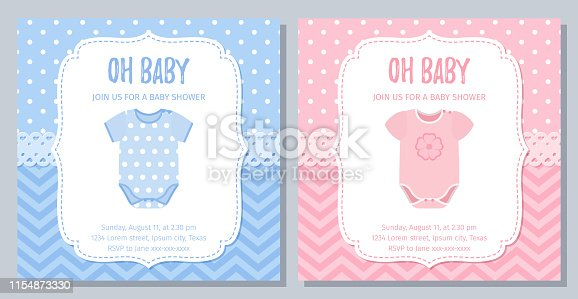 Baby Shower card. Vector. Baby boy, girl invite. Welcome template invitation banner. Cute blue pink design. Happy greeting holiday poster. Birth party background with onesie. Flat illustration.