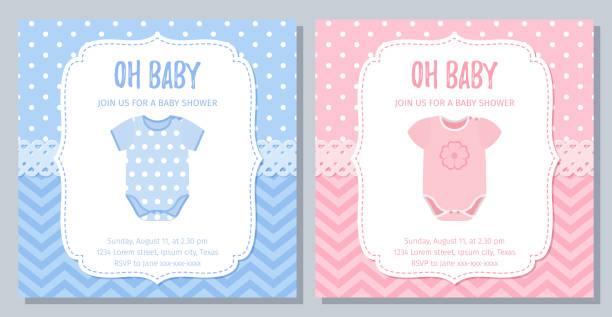 babyduschkarte design. vector illustration. geburtstagsvorlage einladen. - catsuit stock-grafiken, -clipart, -cartoons und -symbole