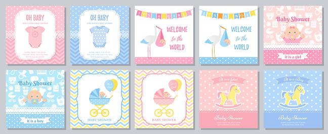 Baby Shower card design. Vector illustration. Template invitation.