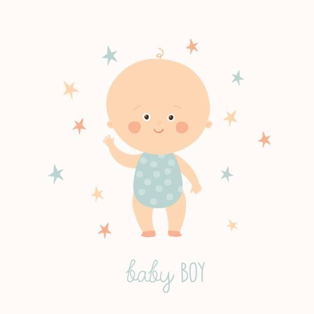stockillustraties, clipart, cartoons en iconen met kaart van de baby douche voor babyjongen. schattige babyjongen permanent. blond peuter jongen. cartoon van de hand van de vector illustratie van de getekende eps 10 geïsoleerd op witte achtergrond - alleen één jongensbaby