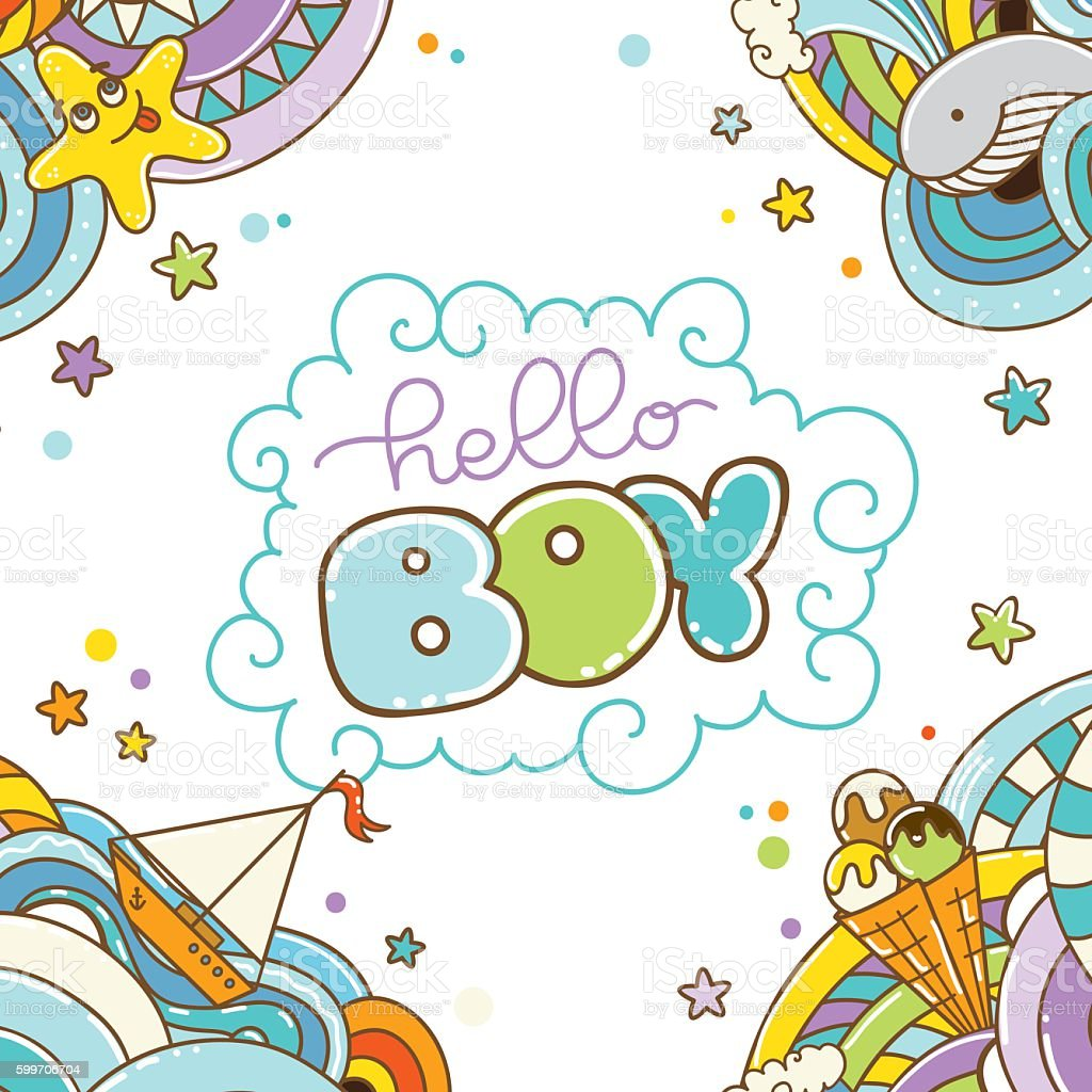 baby shower card hello boy it s a boyのベクターアート素材や画像を