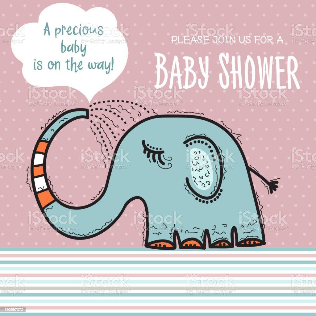 Babyduschekartevorlage Mit Lustigen Doodle Elefanten Stock Vektor
