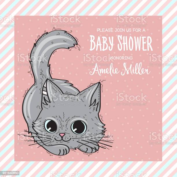 Baby shower card template with funny doodle kitten vector id931640850?b=1&k=6&m=931640850&s=612x612&h=whxbe9mlagyedvgbpl0dgnxsnonvgeap2f4lsemiyoa=