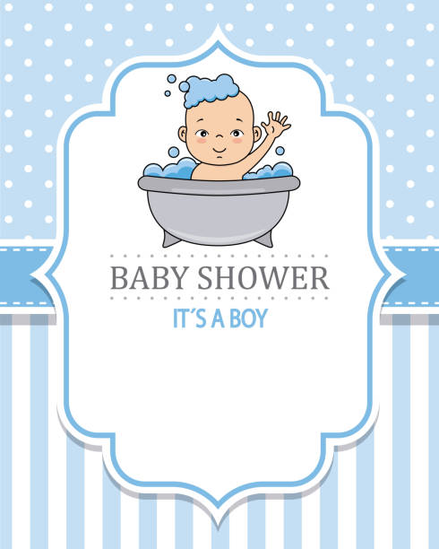 baby shower card baby shower card. Child bathing. space for text bathroom borders stock illustrations