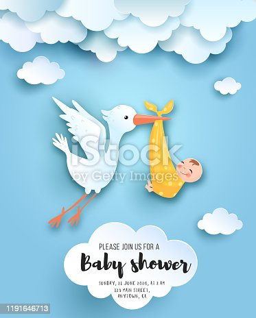 istock Baby shower card. 1191646713