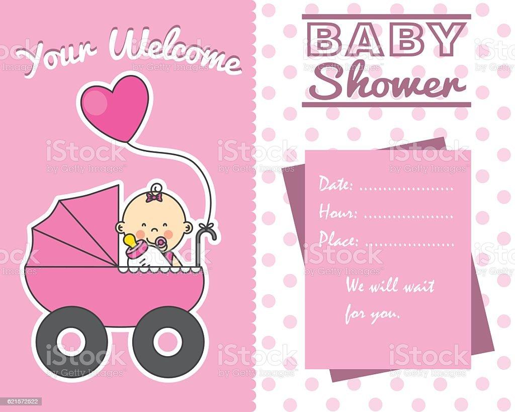 Bébé douche carte bébé douche carte – cliparts vectoriels et plus d'images de amour libre de droits
