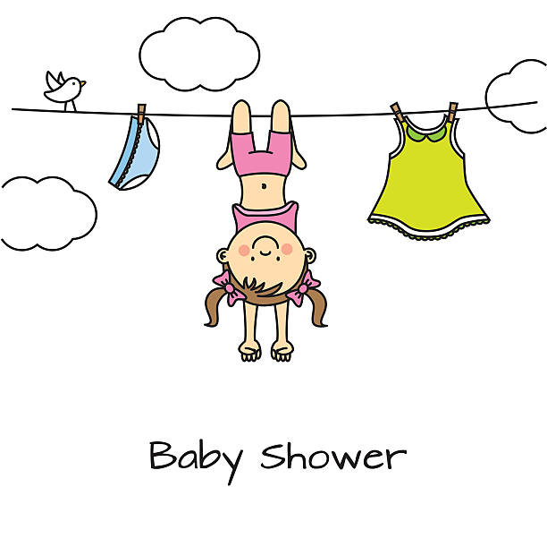 baby shower card baby shower card little girls in panties stock illustrations