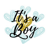 Vector illustration, baby shower card design. It's a boy text