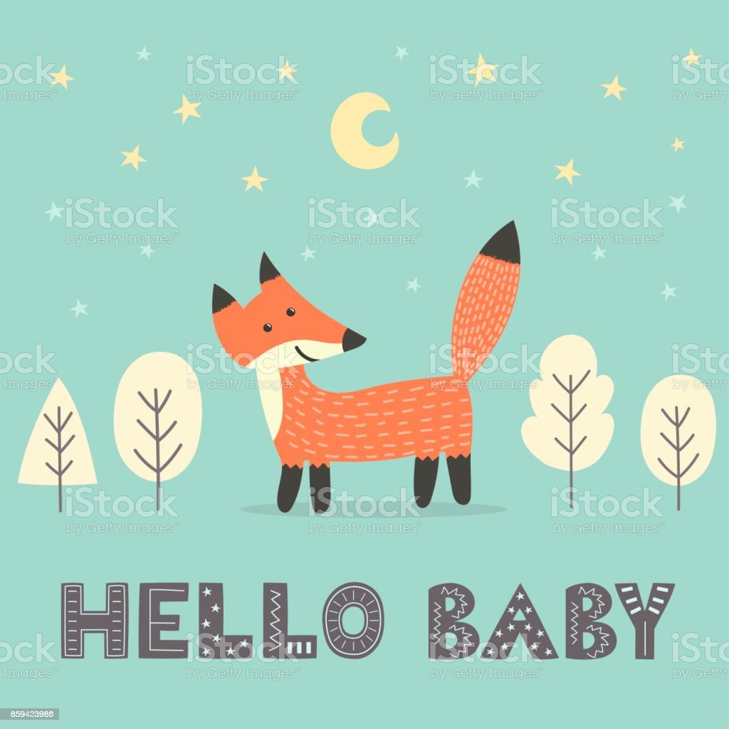 Baby shower card with a cute fox vector art illustration