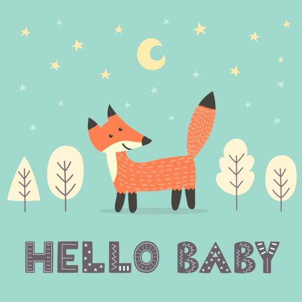 Baby shower card with a cute fox Baby shower card with a cute fox and with text Hello baby. Vector illustration bedroom patterns stock illustrations