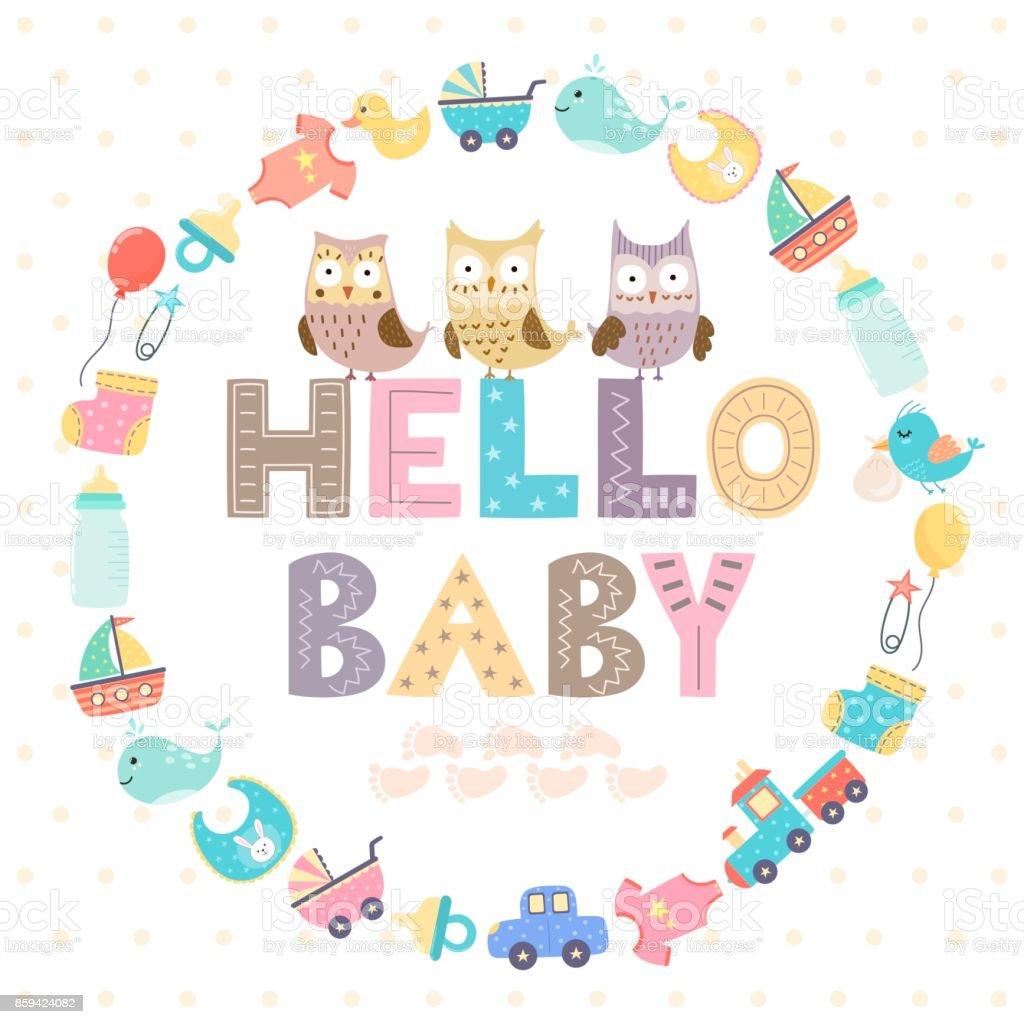 Baby Shower Karte Text.Babyduschekarte Mit Einem Text Hallo Baby Stock Vektor Art