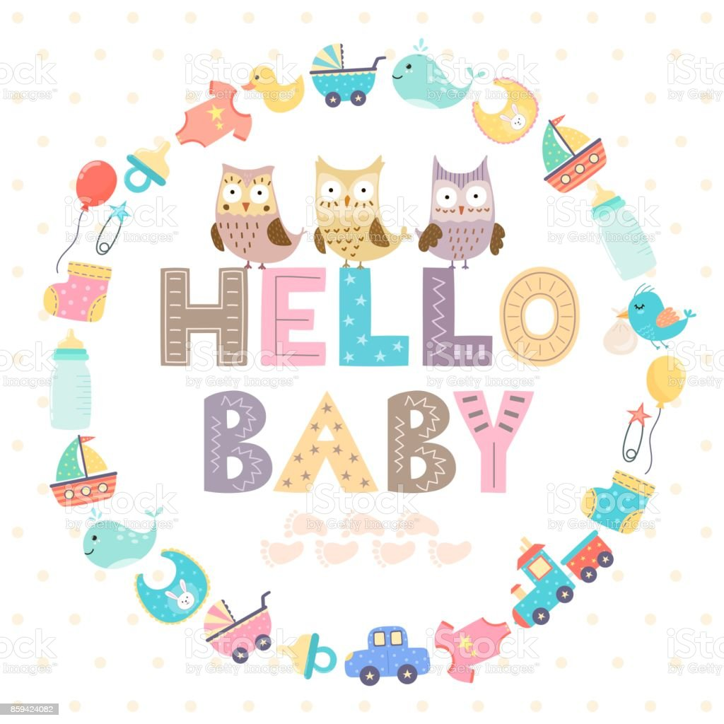 Baby shower card with a text Hello baby vector art illustration
