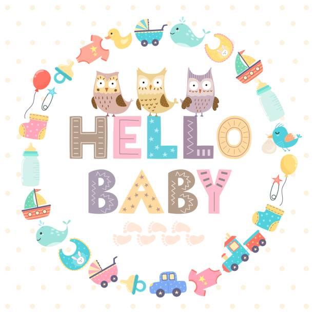 ilustrações, clipart, desenhos animados e ícones de cartão de chuveiro de bebê com um bebê de hello do texto - novo bebê