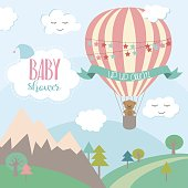 Baby Shower card with air balloons