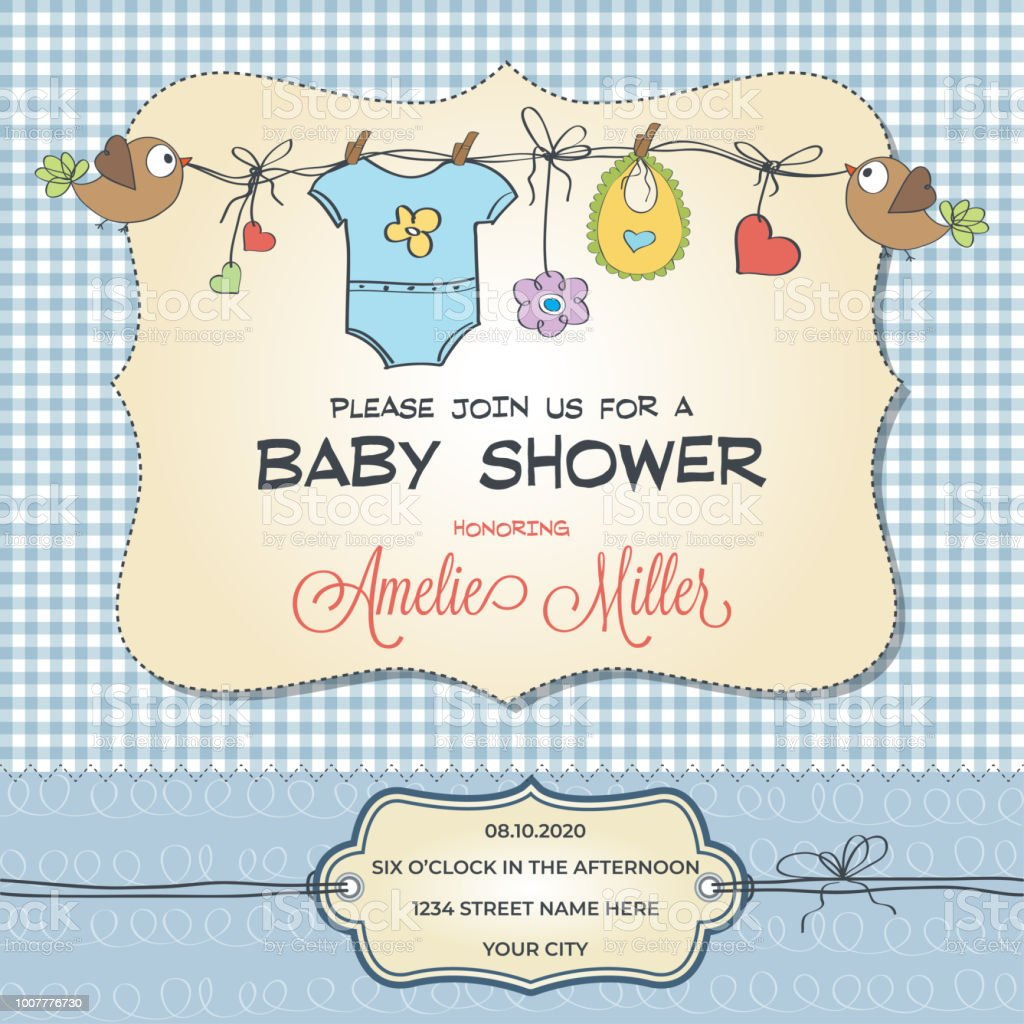 Baby shower card with baby clothings vector art illustration