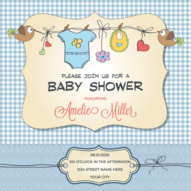 Baby shower card with baby clothings Baby shower card with baby clothings, customizable baby clothing stock illustrations