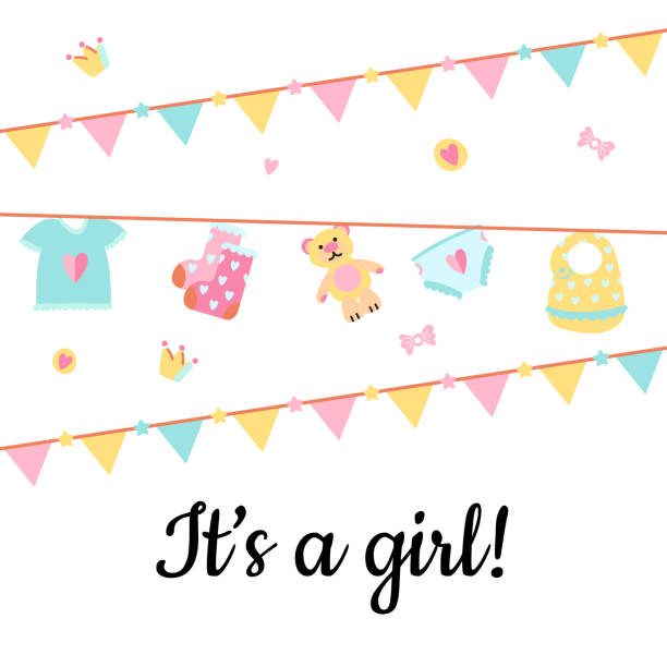 Baby shower card with cute accessories for girl. Vector Illustration. Poster for the kid's birthday with text ''It's a girl!''. Design template card with hand lettering for baby shower. Garlands and cute accessories for girl. it's a girl stock illustrations