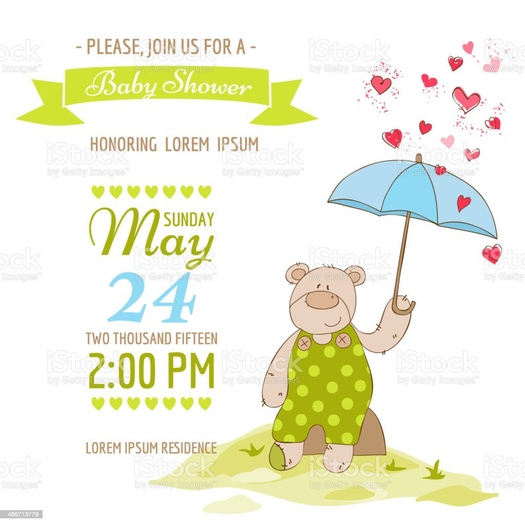 Baby Shower Card   With Cute Bear And Umbrella Royalty Free Baby Shower  Card With