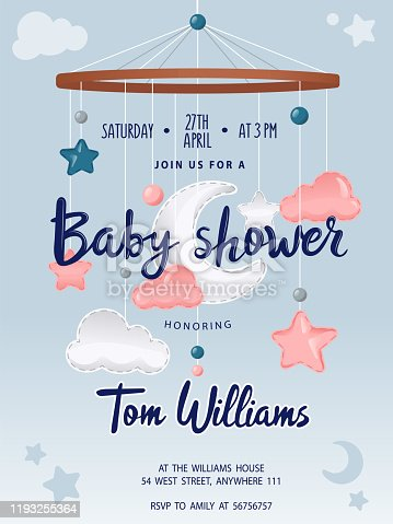 Baby Shower card with cute crib Mobile Musical Box Bed Bell, moon, clouds and stars. Place for text. Flat style. Vector illustration.