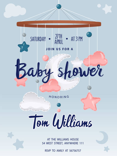 Baby Shower card with cute crib Mobile Musical Box Bed Bell, moon, clouds and stars. Place for text. Flat style. Vector illustration Baby Shower card with cute crib Mobile Musical Box Bed Bell, moon, clouds and stars. Place for text. Flat style. Vector illustration. baby shower stock illustrations