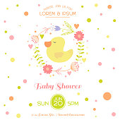 Baby Shower Card - with Cute Duck
